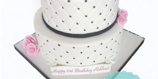 micheal kors logo, quilited cake, black white pink cake, vancouver cakes, specialty cakes vancouver